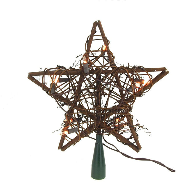 12-Pack, Rattan Star Christmas Tree Top, Natural, 10-Inch