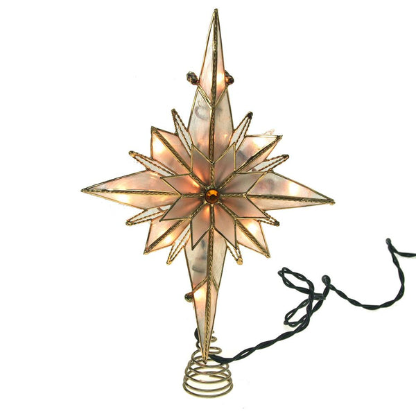 Capiz Bethlehem Star Gold Christmas Tree Topper Light Set, Warm White, 11-Inch