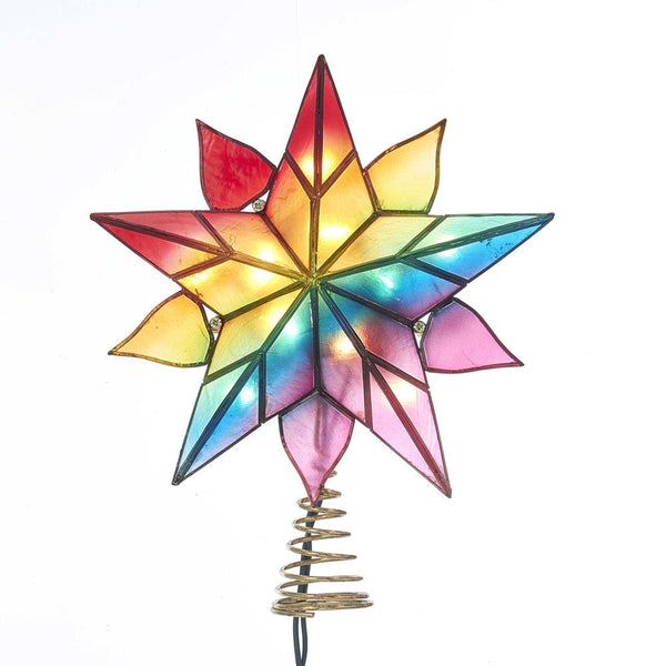Capiz Star Christmas Tree Topper Clandestine Light, Multi-Color, 9-Inch