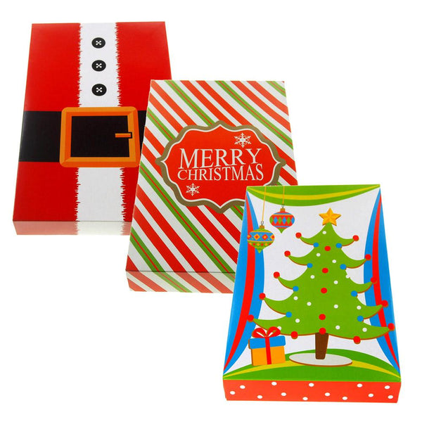 Christmas Decor Paper Fold Gift Boxes, Red/Green, 14-Inch, 3-Piece