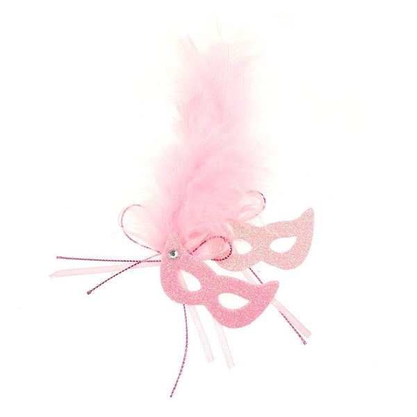 EVA Glitter Foam and Feather Masquerade Masks, 2-1/2-Inch, Pink