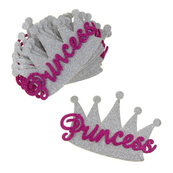 12 Pack, Foam Glitter Princess Crown Cutouts, Silver/Fuchsia, 5-Inch, 10-Count