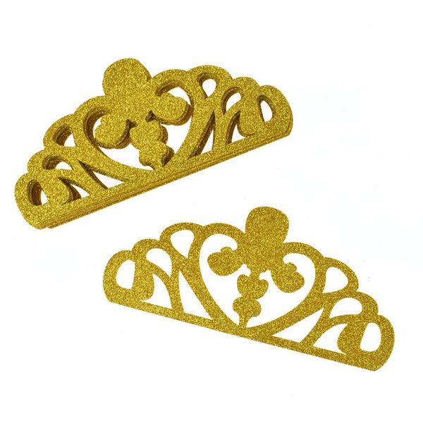 EVA Glitter Foam Tiara Crown Cut-Outs, 8-1/2-Inch, 10-Count, Gold