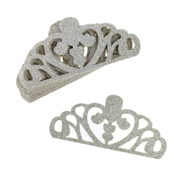 EVA Glitter Foam Tiara Crown Cut-Outs, Silver, 5-1/4-Inch, 10-Count