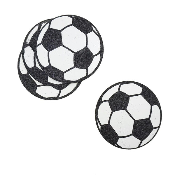 Glittered Soccer EVA Foam Cut Outs, 4-1/4-Inch, 10-Count