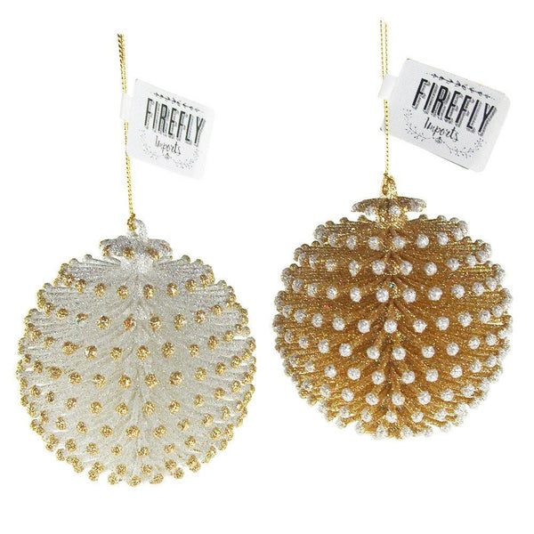 Acrylic Glitter Pinecone Ball Christmas Ornaments, Gold/Silver, 3-1/4-Inch, 2-Piece