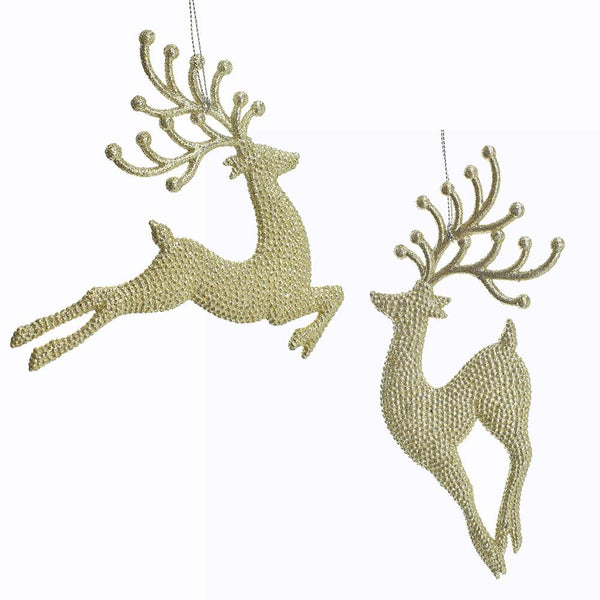 Glitter Embossed Champagne Gold  Reindeer Ornaments, 7-Inch, 2-Piece