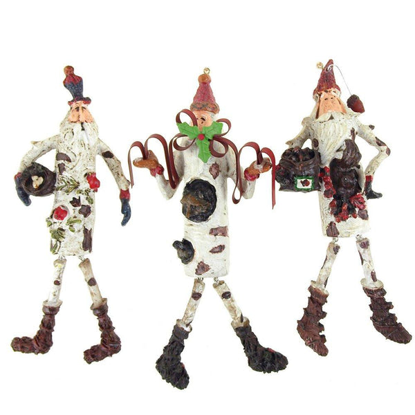 Santa w/ Dangling Christmas Ornaments, White, 7-3/4-Inch, 3-Piece