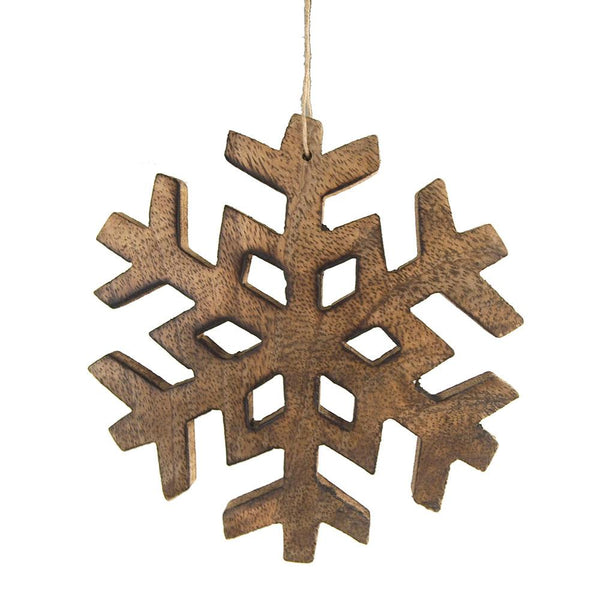 Snowflake Wooden Christmas Ornament, 5-Inch
