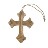 Hanging Beveled Nasrani Cross Christmas Tree Ornament, 4-Inch