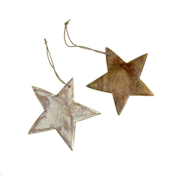 12-Pack, Hanging Wooden Star Christmas Tree Ornament, 5-1/2-Inch