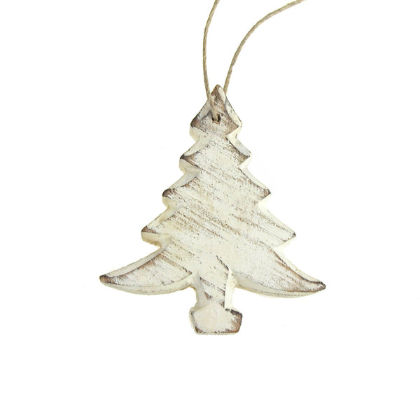 12 Pack, Christmas Tree Wooden Ornament, White, 4-Inch