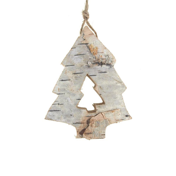 12-Pack, Carved Birch Pine Tree Hanging Christmas Tree Ornament, Natural, 3-1/4-Inch