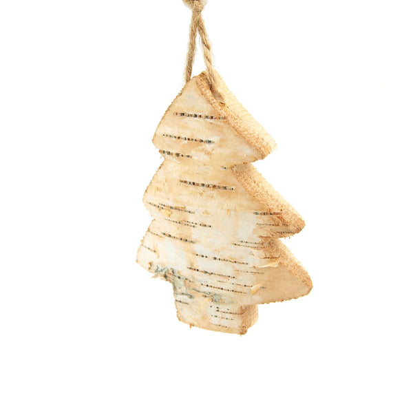 Wooden Tree with Birch Christmas Ornament, Natural, 4-Inch