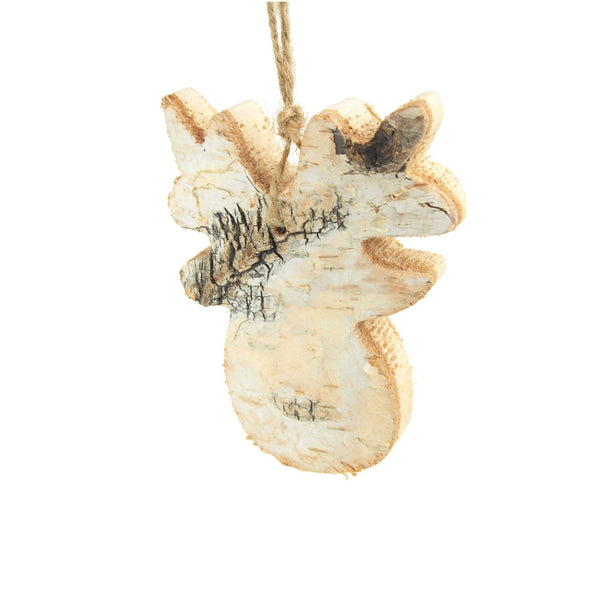 Wooden Moss Head with Birch Christmas Ornament, Natural, 4-Inch