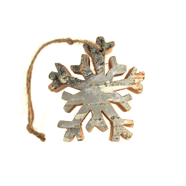 12 Pack, Dendrite Snowflake Wooden Christmas Ornament, Natural, 3-1/4-Inch