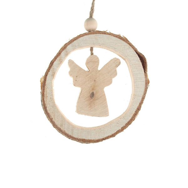 12-Pack, Carved Wood Angel Round Hanging Christmas Tree Ornament, Natural, 4-Inch