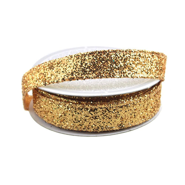 12-Pack, Sparkling Glitter Ribbon Wired Edge, 5/8-Inch, 10 Yards, Gold