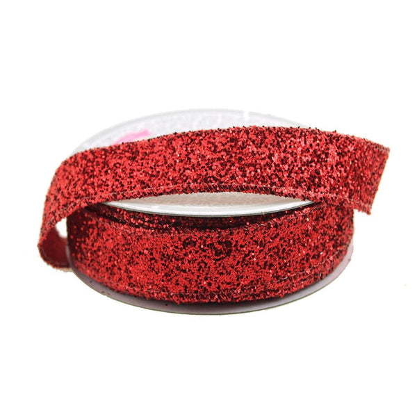12-Pack, Sparkling Glitter Ribbon Wired Edge, 5/8-Inch, 10 Yards, Red