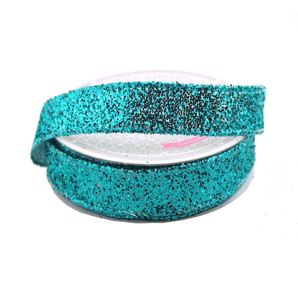 12-Pack, Sparkling Glitter Ribbon Wired Edge, 5/8-Inch, 10 Yards, Turquoise