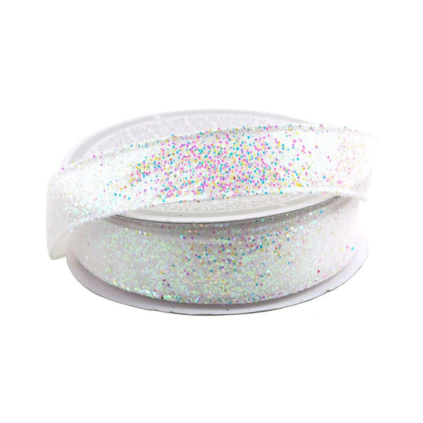 12-Pack, Sparkling Glitter Ribbon Wired Edge, 5/8-Inch, 10 Yards, White