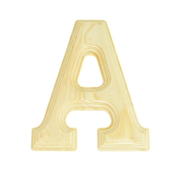 Pine Wood Beveled Wooden Letter A, Natural, 5-13/16-Inch