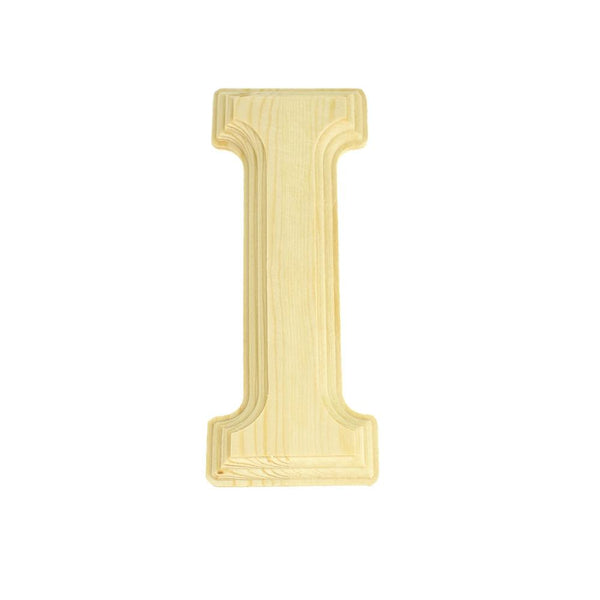 Pine Wood Beveled Wooden Letter I, Natural, 5-13/16-Inch