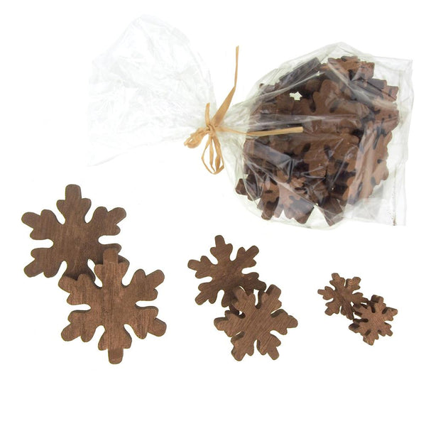 Christmas Snowflake Wooden Cutouts, 3 Sizes, 30 Piece