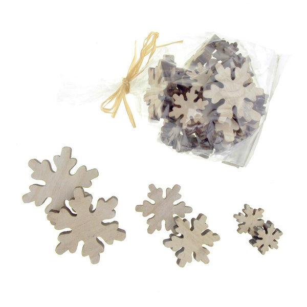 Christmas Snowflake Wooden Cutouts, Natural, 3 Sizes, 30 Piece