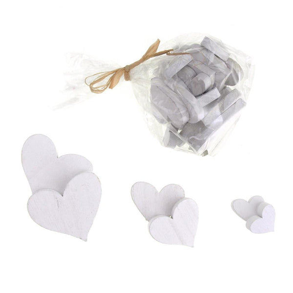 12-Pack, Christmas Heart Wooden Craft Cutouts, 3 Sizes, 30 Piece