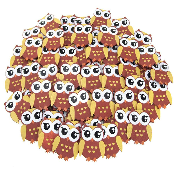 Small Owl Animal Wooden Baby Favors, 1-1/4-Inch, 100-Piece, Brown