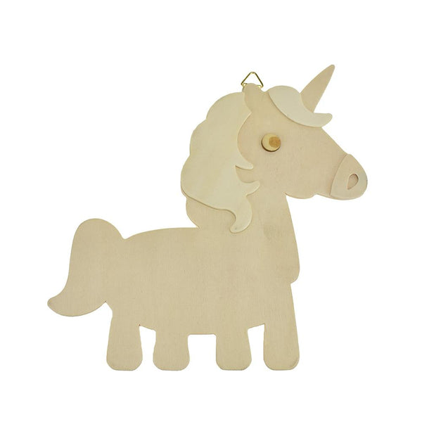 DIY Natural Wood Unicorn Wall Plaque With Metal Hook, 6-7/8-Inch