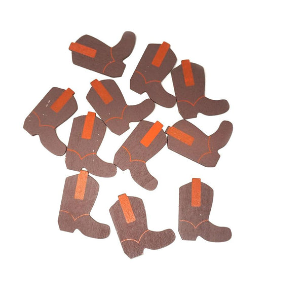 Small Cowboy Boots Wooden Favors, Brown, 1-1/2-Inch, 100-Count