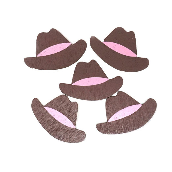 Small Cowboy Hat Wooden Favors, 1-1/2-Inch, 100-Count, Pink