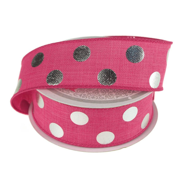 12-Pack, Metallic Dots Wired Canvas Ribbon, 1-1/2-Inch, 10 Yards, Hot Pink/Silver