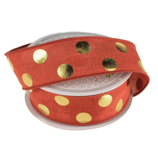 12-Pack, Metallic Dots Wired Canvas Ribbon, 1-1/2-Inch, 10 Yards, Red/Gold