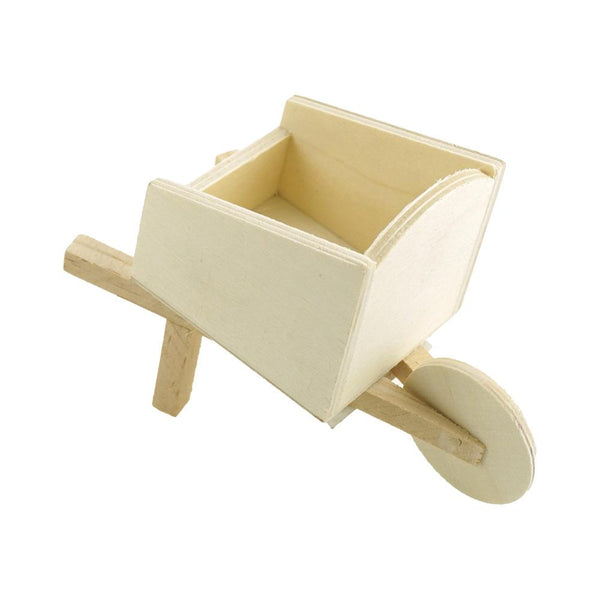 DIY Wheelbarrow Wood Craft, Natural, 5-Inch