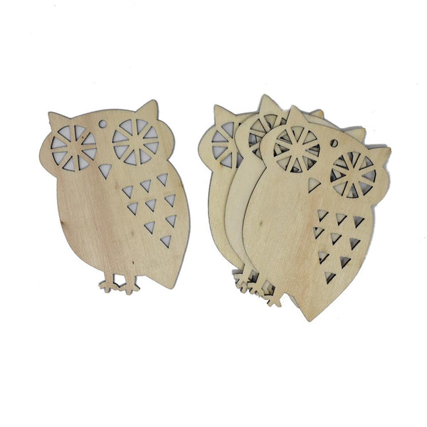 Craft Wood Laser Cut Wood Owl, Natural, 3-Inch, 4-Piece