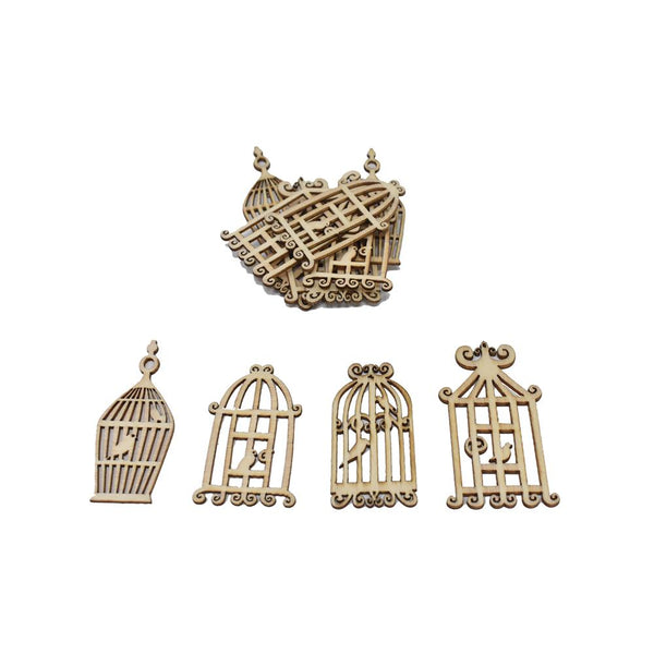 12-Pack, Laser Cut Assorted Wood Birdcages, Natural, 12-Piece