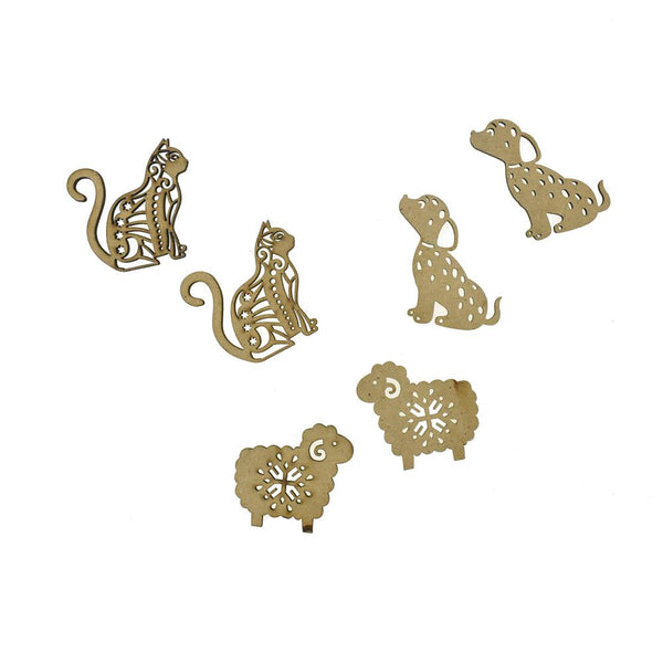 Animal Pals Laser-Cut Ornate Wood Shapes, Natural, 6-Count