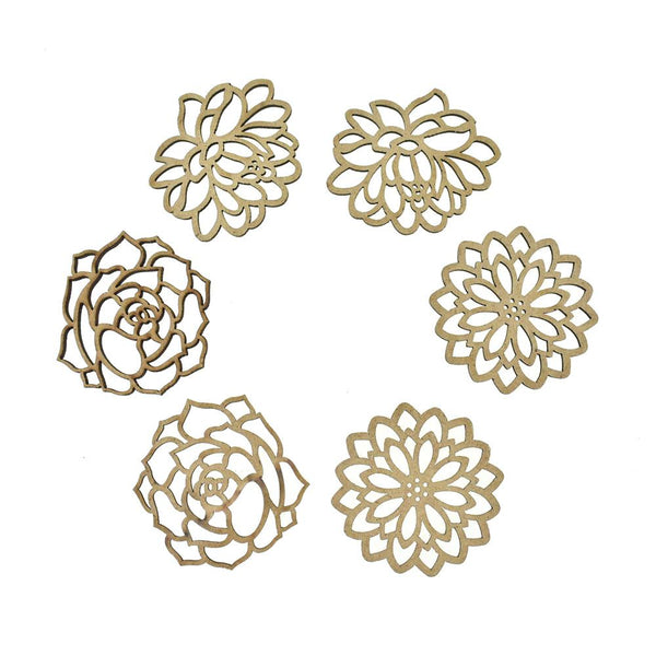 Floral Laser-Cut Ornate Wood Shapes, Natural, 6-Count