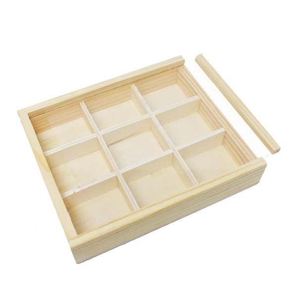 Natural Wood DIY 9-Window Keepsake Box, 6-Inch