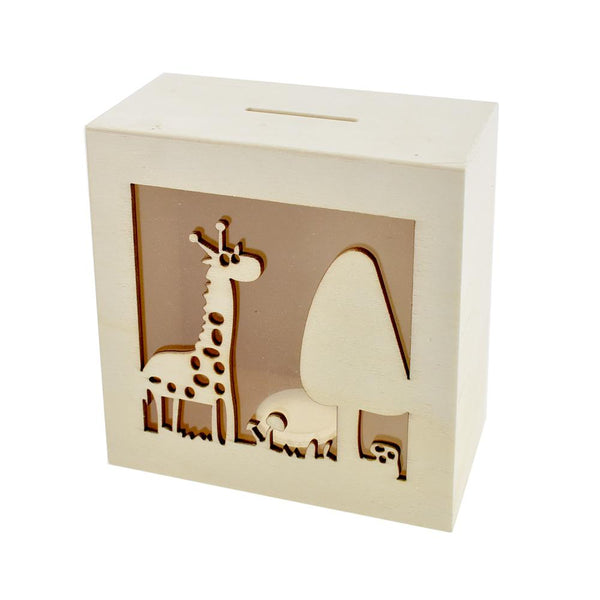 Scenic Giraffe DIY Wood Piggy Bank, Natural, 4-3/4-Inch