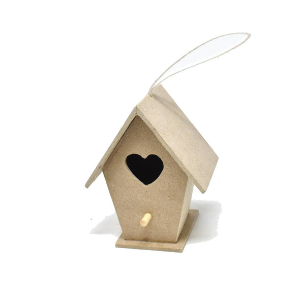 12-Pack, Wooden Birdhouse MDF with Hanging Cord
