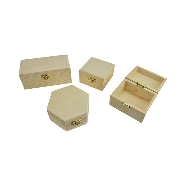 Wooden Storage Assortment Box Set, 4-Piece
