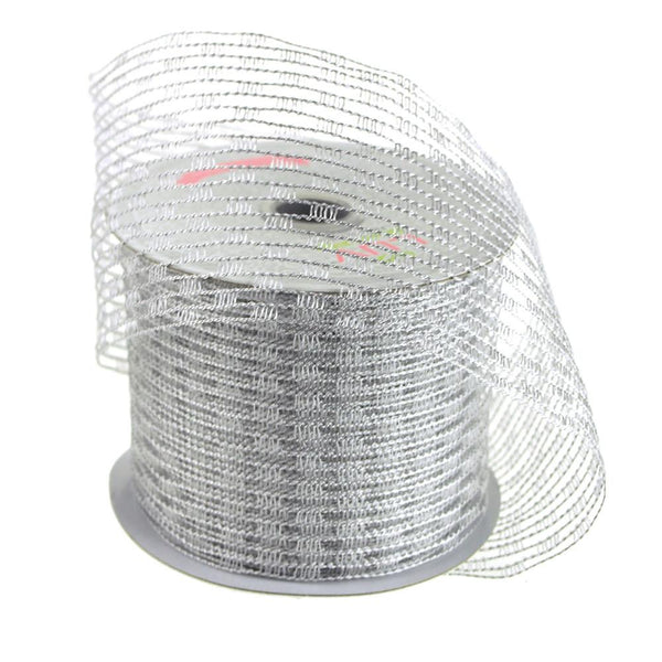Stretch Netting Wired Mesh Ribbon, 2-1/2-Inch, 10 Yards, Silver