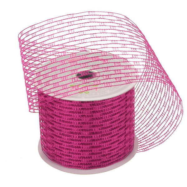 12-Pack, Stretch Netting Wired Mesh Ribbon, 2-1/2-Inch, 10 Yards, Fuchsia