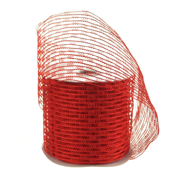 Stretch Netting Wired Mesh Ribbon, 2-1/2-Inch, 10 Yards, Red