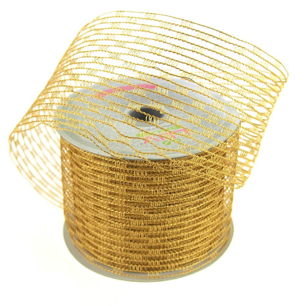 12-Pack, Stretch Netting Wired Mesh Ribbon, 2-1/2-Inch, 10 Yards, Antique Gold
