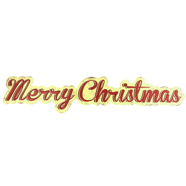 "Vintage Style Hanging Metal ""Merry Christmas"" Sign, Red/Yellow, 35-1/2-Inch x 7-1/2-Inch"